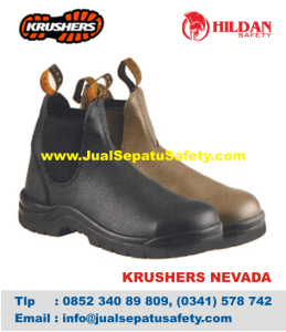 Gambar Sepatu Safety Krushers NEVADA Elastis Samping Hitam Coklat