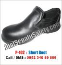 P-102 Sepatu Safety Pendek Slip On Tanpa TALI ASLI KULIT Sapi