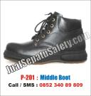 P-201 Sepatu Safety Semi Boot CHEETAH Look Murah Dengan TALI Kulit ASLI