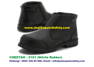 Sepatu Safety Shoes CHEETAH 2101 Semi Boot Resleting Zipper Nitrile Rubber