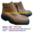 BG-015 TAN, Grosir Sepatu Safety Resleting Semata Kaki Kulit Asli