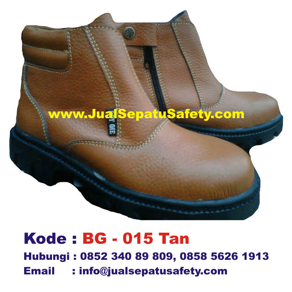 BG-015 TAN, Sepatu Safety Shoes BOY GIE Semi Boot Resleting Grosir, HP.0852 340 89 809