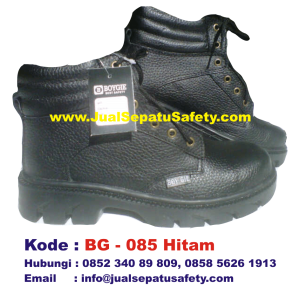BG-085 HITAM, Safety Shoes BOY GIE Semi Boot Bertali Grosir, HP.0852 340 89 809