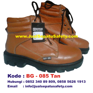 BG-085 TAN, Sepatu Safety BOY GIE Semi Boot Bertali Grosir, HP.0852 340 89 809