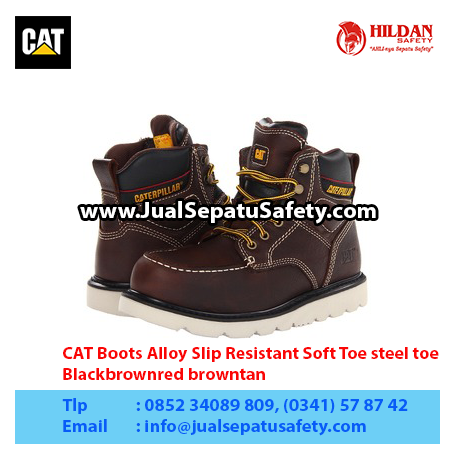CAT Boots Alloy Slip Resistant Soft Toe steel toe, Blackbrownred browntan1