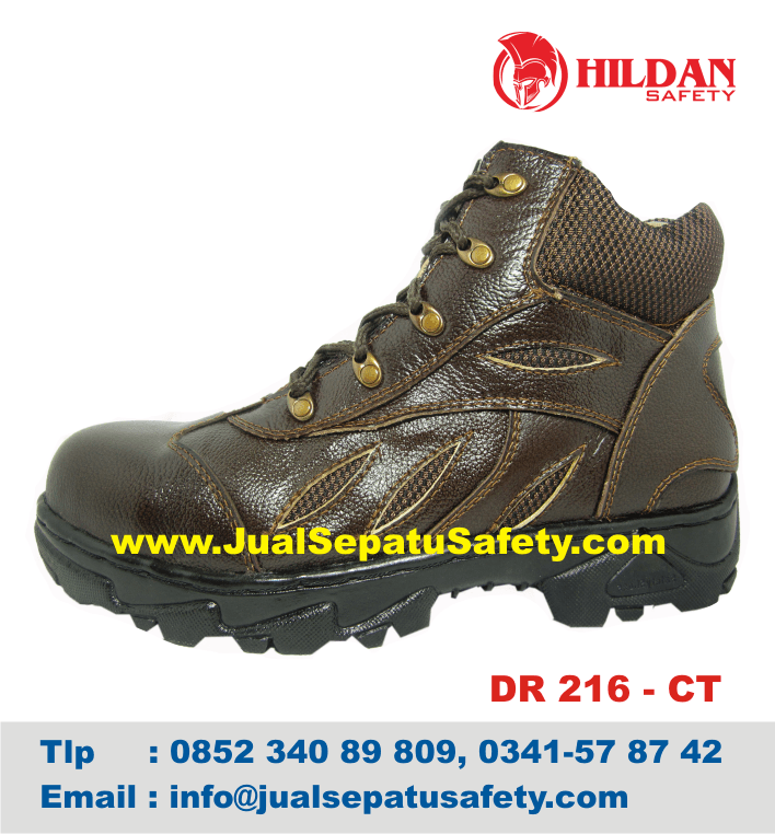 DR 216 CT - Harga Sepatu Mendaki GUNUNG MURAH Safety Kulit ASLI Coklat, HP.0852 340 89 809