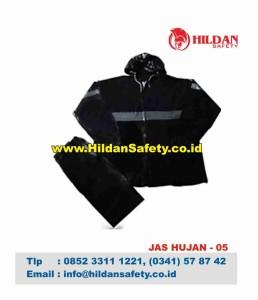 RC.005, Rain Coat Safety Hitam Garis Silver