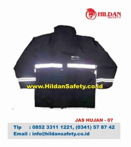 RC.007, Rain Coat Safety Hitam Skotlet Putih