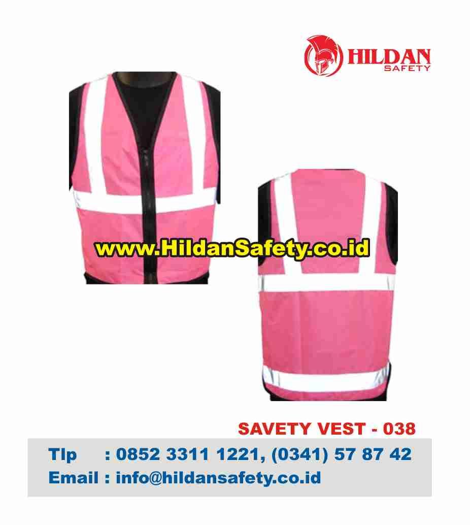 SV.038, Baju Jaring Pink Garis Skotlet Putih