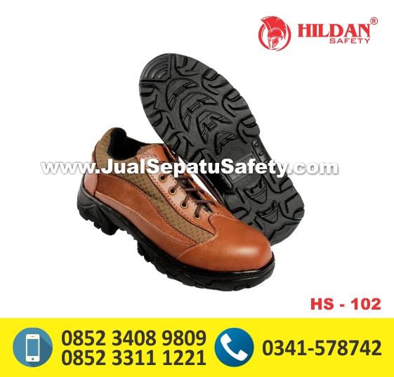 HS102,Jual Sepatu Safety Pendek Warna Cokelat